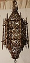 Argentinean 6 Sided Wrought Iron Hanging Light Fixture, 35