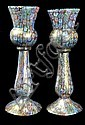 A PAIR OF MURANO GLASS CANDLESTICK-SHAPED VASES