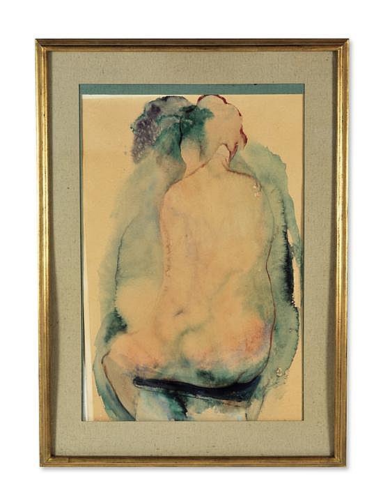 BARRINGTON WATSON, (Jamaican, b. 1931), Nude Back, watercolor, 35 x 24 inches