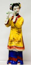 PORCELAIN CHINESE WOMAN PLAYING MUSIC