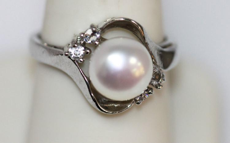 WHITE PEARL AND CZ SILVER RING