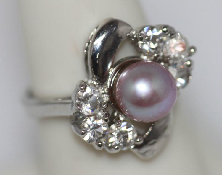NOBLE PURPLE PEARL CZ RING