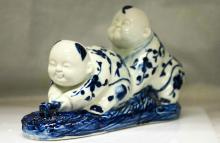 COLLECTIBLE CHINESE PORCELAIN KIDS PLAYING OUTSIDE