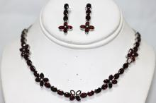 46.80 CTW GARNET .925 STERLING SILVER NECKLACE/EARRING