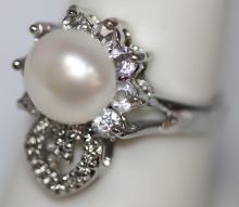 WHITE PEARL WITH ILLUSIONS AND CZ RING