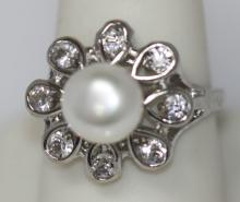 WHITE PEARL FLOWER CZ RING