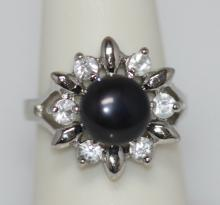 SUNNY BLACK PEARL AND CZ RING AUTHENTIC PHILIPPINE PEAR