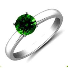 Emerald 6.10 ctw Solitaire Ring 14kt W/Y Gold