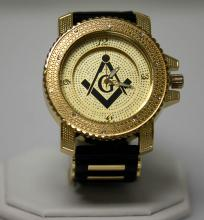 GOLD MASONIC WATCH WITH STUDDED SILVER AND BLACK STRAP