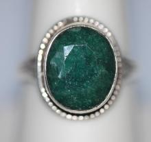1.00 CTW EMERALD .925 STERLING SILVER RING