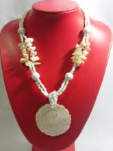505CTW PHILIPPINE CAPIZ ROSE PENDANT BEADED NECKLACE 20