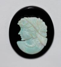 HAND CARVED OPAL ON ONYX GREEK GODDESS