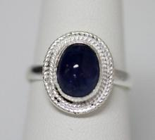 BEAUTIFUL SILVER RING WITH BLUE TANZANITE STONE CTW 2.3