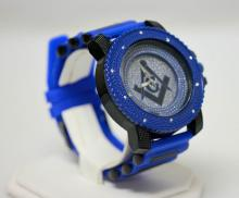 BLUE MASONIC WATCH WITH STUDDED SILVER AND SILVER BACK GROUND