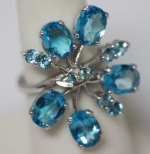 6.92 CTW BLUE TOPAZ RING .925 STERLING SILVER