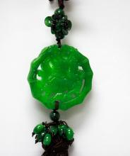 Natural GREEN JADE CHINESE GOOD LUCK CHARM