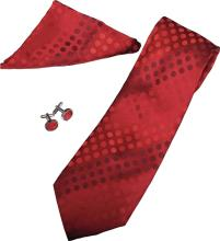 POLKA RED TIE, CUFFLINKS AND POCKET SQUARE SET