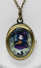 RETRO VINTAGE STYLE POCKET WATCH W/CARTOON WITCH