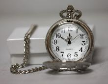 Collectible Open Face Silver Butterfly Effect Pocket Watch
