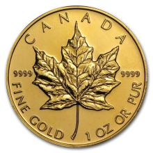 1 oz Gold Canadian Maple Leaf - Random Yearv