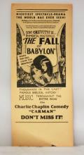 Limited Edition Antique Ticket Stub 1919 - The Fall of Babylon