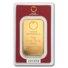 50 gram Austrian Mint Gold Bar .9999 Fine (In Assay)