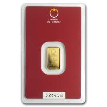 2 gram Austrian Gold Bar .9999 Fine (In Assay)