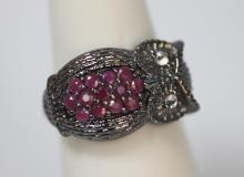 0.52 CTW RUBY & CZ OWL .925 STERLING SILVER RING