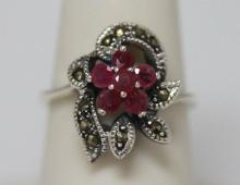 0.40 CTW RUBY RING ANTIQUE STYLE JEWELRY .925 STERLING