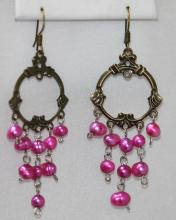 ANCIENT PURPLE PEARL DANGLING EARRINGS