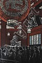 Shiro Kasamatsu (Japanese, 1898-1991) Temple Interior woodblock print