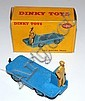 DINKY 400 BEV ELECTRIC TRUCK, MID-BLUE BODY AND RIDGED HUBS, TAN DRIVER, IN ILLUSTRATED YELLOW BOX (E BOX G)