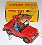 DINKY 340 LAND ROVER, RED BODY, INTERIOR AND PLASTIC HUBS, BLUE DRIVER, BLACK WINDSCREEN, IN ILLUSTRATED YELLOW BOX WITH CORRECT COL...
