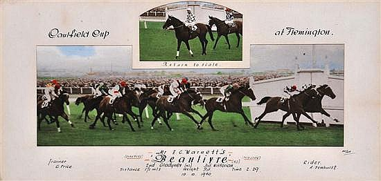 PHOTOGRAPH OF THE FINISH OF THE 1940 CAULFIELD CUP WON BY BEAULIVRE Overall 34cm x 64.5cm
