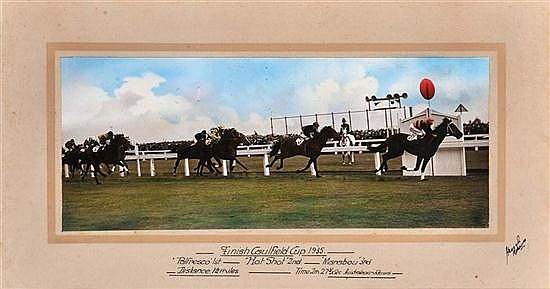 PHOTOGRAPH OF THE FINISH OF THE 1935 CAULFIELD CUP WON BY PALFRESCO Overall 39cm x 60cm