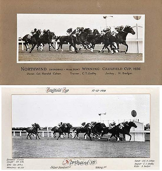 TWO PHOTOGRAPHS OF THE 1936 CAULFIELD CUP FINISH WON BY NORTHWIND Largest overall 34cm x 64cm