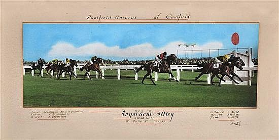 FINISH PHOTOGRAPH OF THE 1945 CAULFIELD GUINEAS WON BY ROYAL GEM AND ATTLEY IN A DEAD HEAT Overall 36cm x 67cm