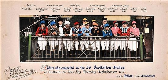 PHOTOGRAPH OF 'RIDERS WHO COMPETED IN THE 2ND INVITATION STAKES SEPTEMBER 25TH 1952 AT CAULFIELD' Overall 24cm x 64cm
