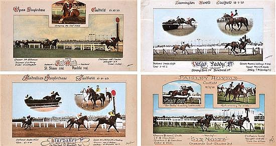 FOUR FINISH PHOTOGRAPHS OF CAULFIELD STEEPLECHASE AND HURDLE RACES All overall 27cm x 48cm