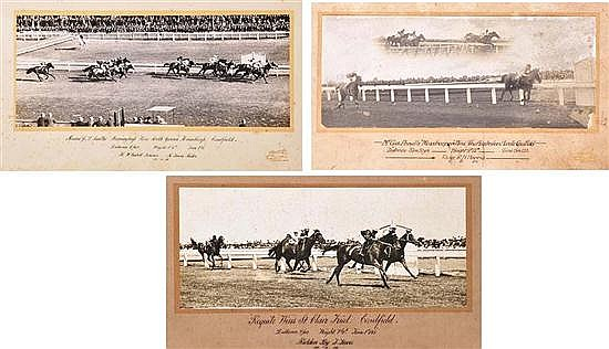 FIVE PHOTOGRAPHS OF CAULFIELD RACE FINISHES Largest overall 38cm x 60cm