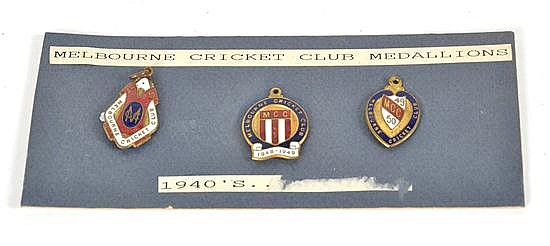THREE MELBOURNE CRICKET CLUB MEMBERSHIP BADGES