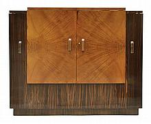 AN ART DECO MACASSAR EBONY AND BLONDE WOOD COCKTAIL CABINET