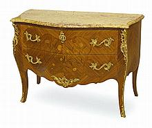 A LOUIS XV STYLE KINGWOOD AND MARQUETRY GILT METAL MOUNTED BOMBE COMMODE