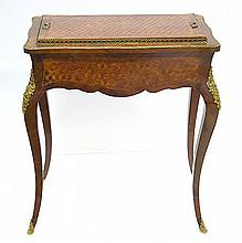 A LOUIS XV STYLE GILT METAL MOUNTED MARQUETRY INLAID CELLARETTE