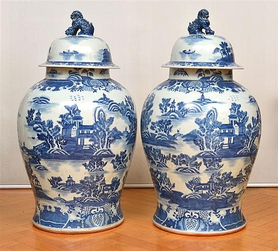 A SUBSTANTIAL PAIR OF CHINESE BLUE AND WHITE PORCELAIN LIDDED GINGER JARS, WITH FO DOG FINIALSEACH 89CM HIGH