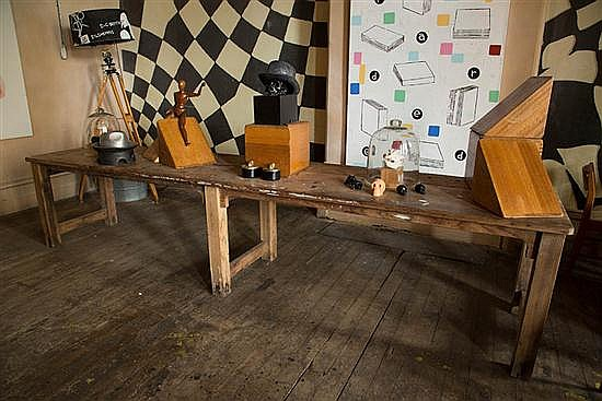 A RUSTIC TIMBER REFECTORY TABLE