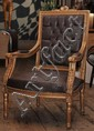 A SINGLE SQUARE-BACKED GILTWOOD UPHOLSTERED OCCASIONAL CHAIR
