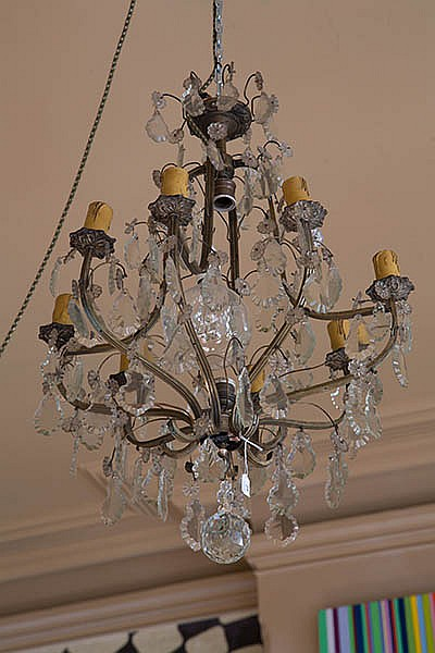 AN EIGHT-BRANCH GLASS CHANDELIER