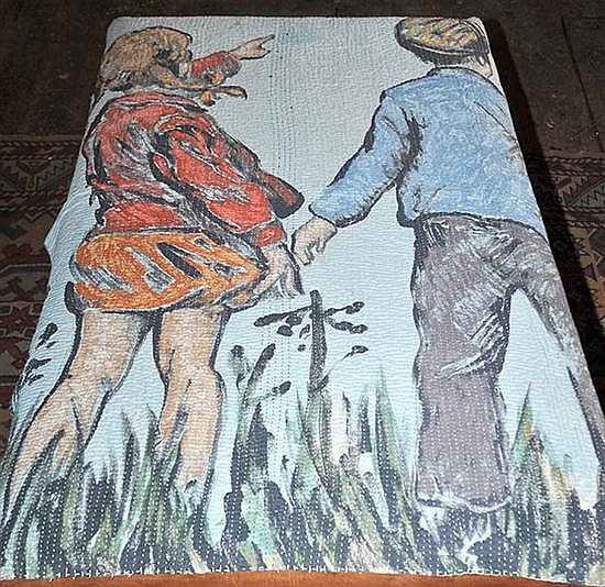 A DAVID BROMLEY COTTON THROW WITH A DEPICTION OF TWO CHILDREN AT PLAY