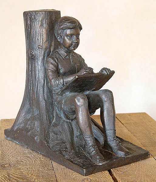 DAVID BROMLEY (BORN 1960) Reading Boy cast bronze
